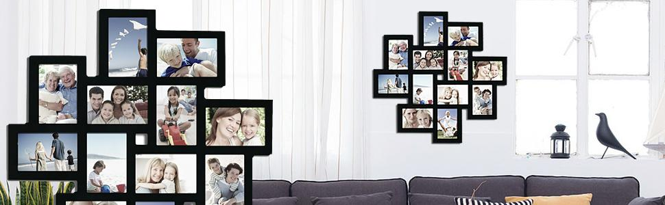 Adeco [PF0206] Decorative Black Wood Wall Hanging Collage Picture Photo  Frame, 12 Openings, 4x6\