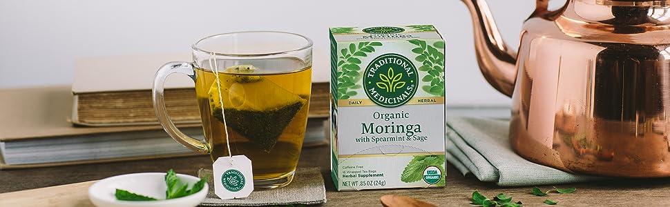 Traditional Medicinals Organic Moringa with Spearmint & Sage Herbal Tea