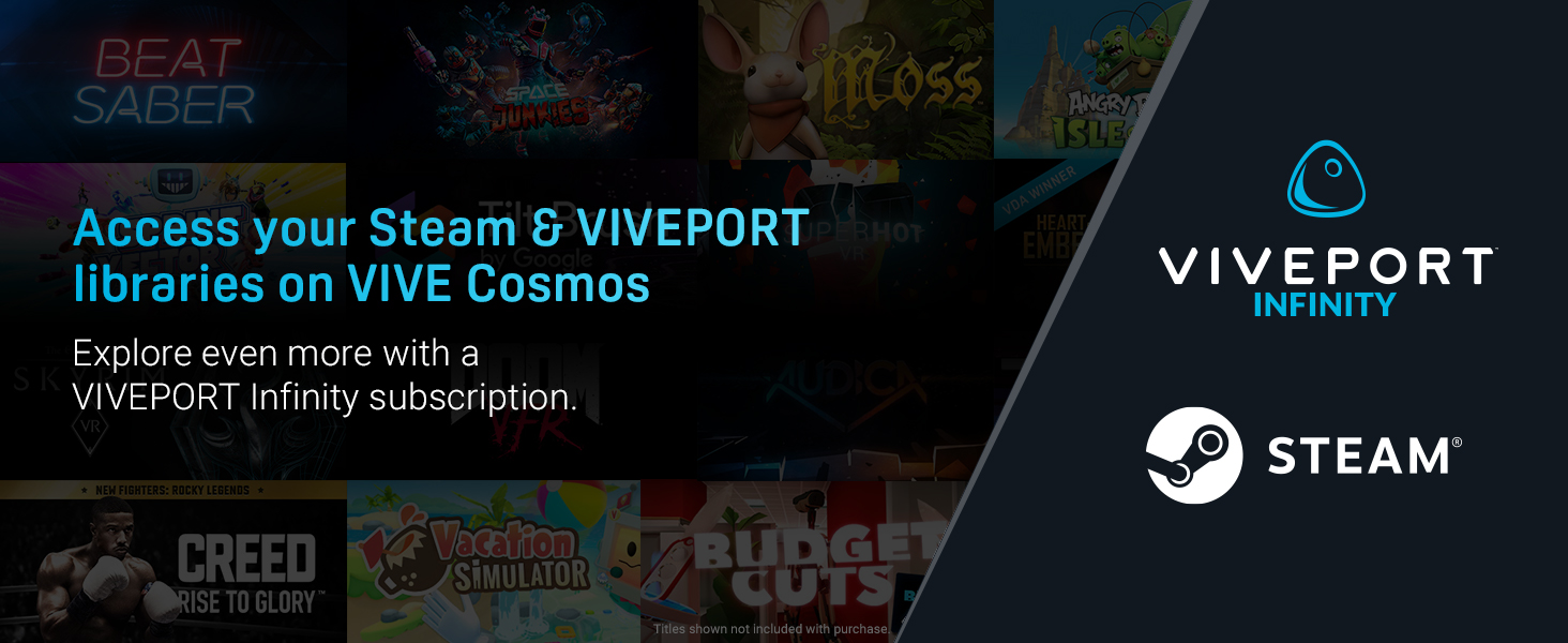 viveport, steam, vr, virtual reality, vive cosmos, vr content, vr games, vr apps, oculus, rift