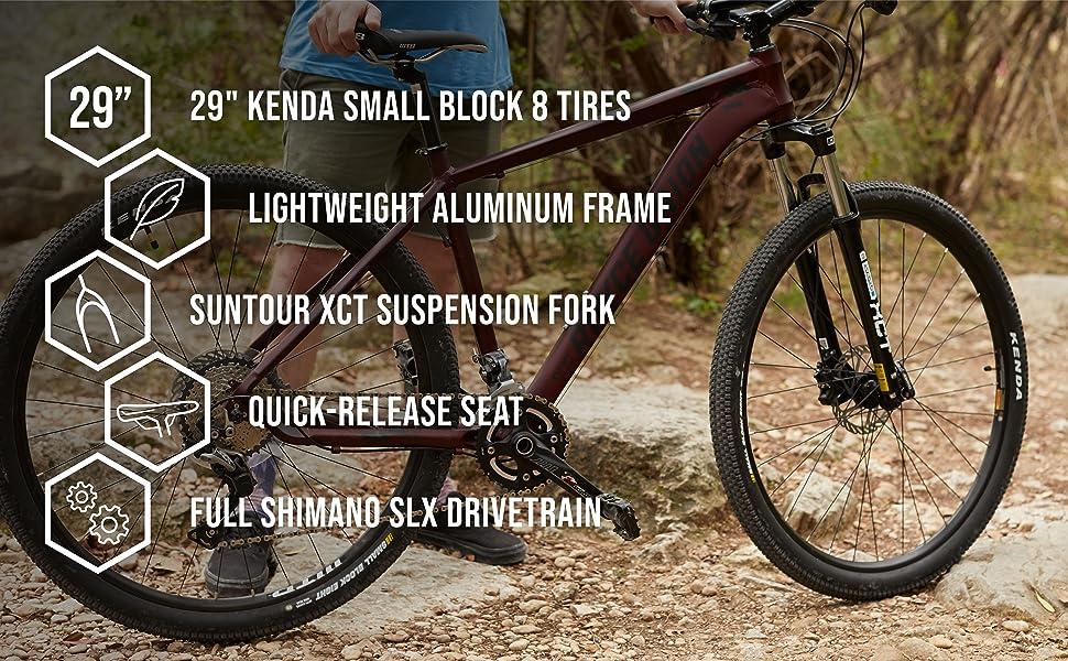 "29"" Kenda Small Block 8 Tires. Lightweight Aluminum Frame. Suntour XCT Suspension Fork."