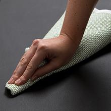 Leather grain black, wipe clean, stain resistant