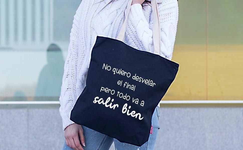 Hello-Bags Bolso Tote. Algodón 100%. Negro. con Cremallera, Forro y Bolsillo Interior. 37 * 38 cm + (asa: 28 cm). Incluye sobre Kraft de Regalo: Amazon.es: Equipaje