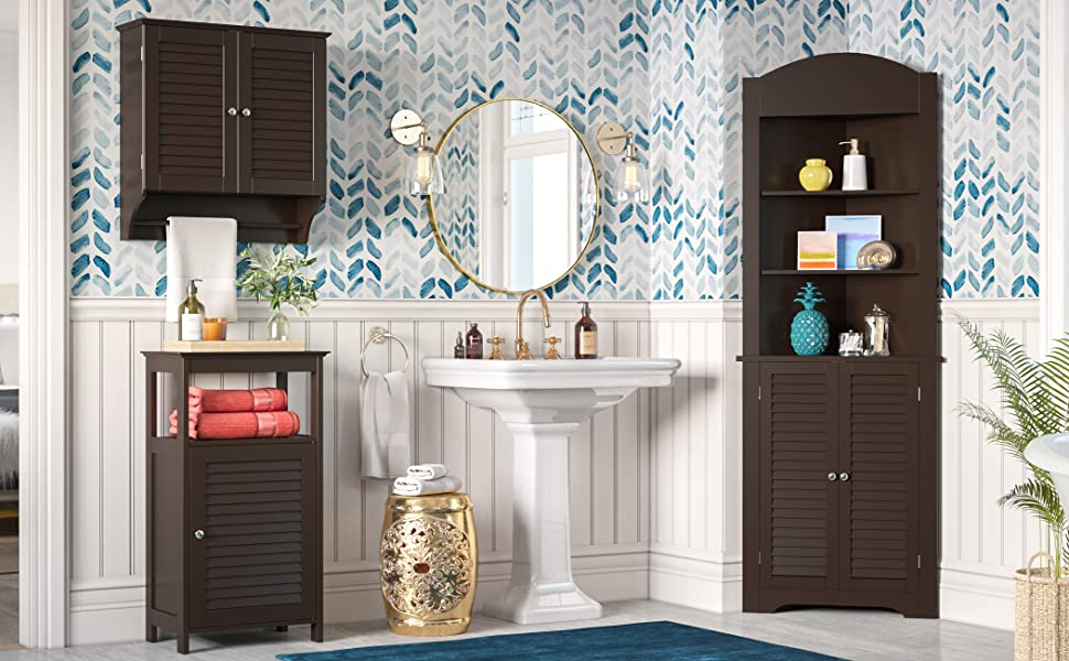 espresso bathroom cabinet storage organization