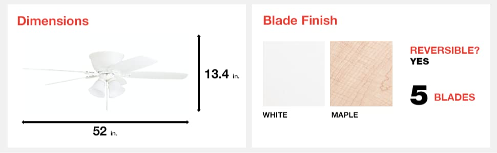 fan dimensions, blade finish, white, maple, 8 blades, reversible, yes, 52 in, 13.4