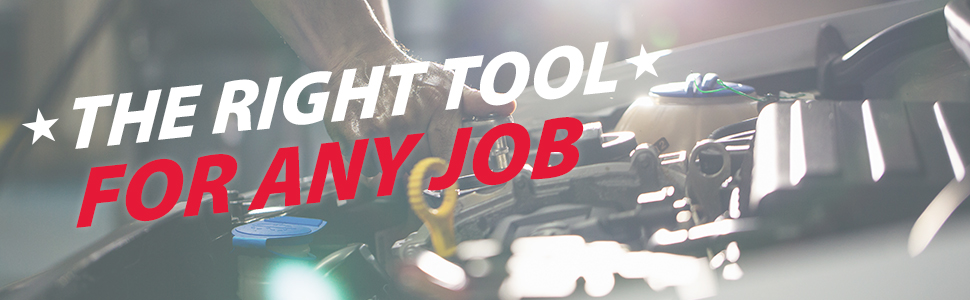 Image of a man working on a car. The right tool for any job