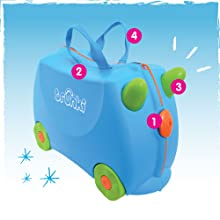 Trunki Original Kids Ride-On Suitcase and Carry-On Luggage Turquoise 0287-GB01 Una Unicorn