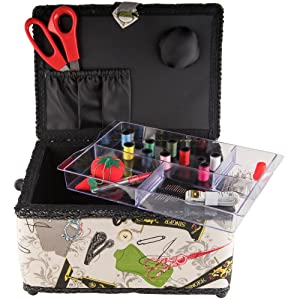 sewing box case storage organization carry tray compartment starter kit basic notions quilt basket