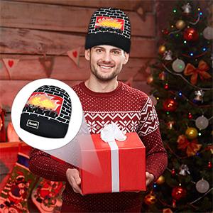 Amazon.com  POPCHOSE Unisex LED Knit Beanie Light Up Fireplace ... 933f6aae8186