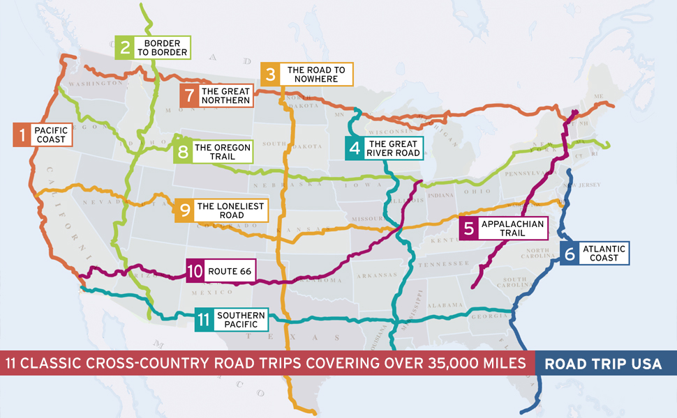 Road Trip USA 11 Cross-Country Road Trip Routes Map