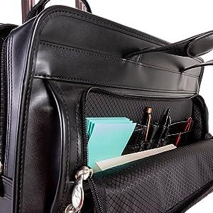 Black-Us Patent Briefcase McKlein Franklin Leather 17 Detachable Wheeled Laptop Case 46 cm Black