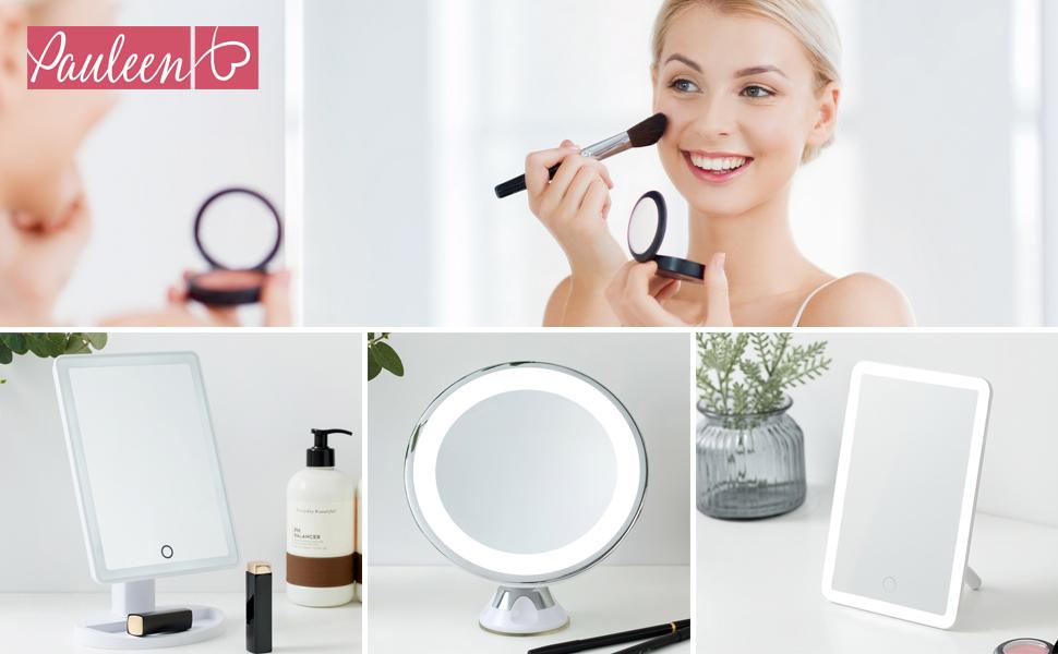 Pauleen 480.25 48025 Mirror Charming Maquillage gradateur Tactile et Batterie LED Miroir cosm/étique Lumineux Blanc Verre//Cire Mati/ère Plastique 4 W