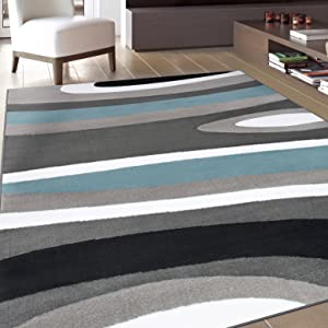 Amazon Com Abstract Contemporary Modern Blue Area Rug 7 10 X 10 2 Furniture Decor
