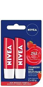 nivea strawberry shine lip balm