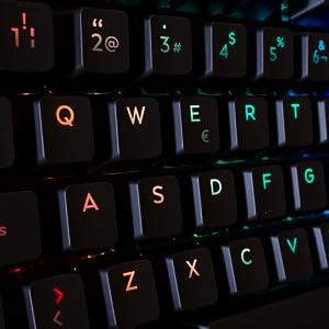 Deep Gaming Solid - Teclado mecánico gamer con 14 modos de iluminación RGB, 105, teclas, antighosting, switch azul, reposamuñecas separable, ...