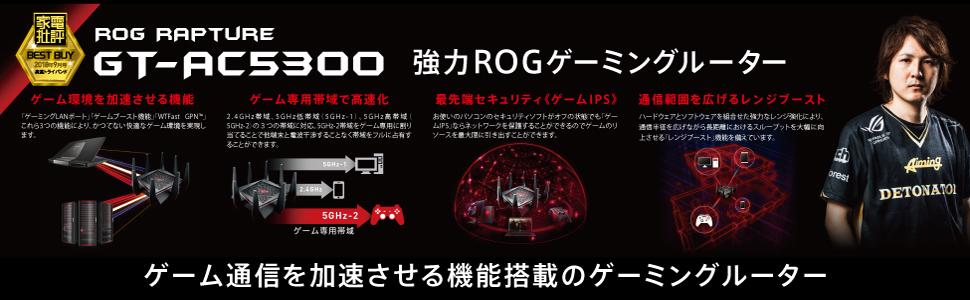 プロゲーマーが選ぶ強力ゲーミングルーターGT-AC5300 トライバンド強力超高速ルーター