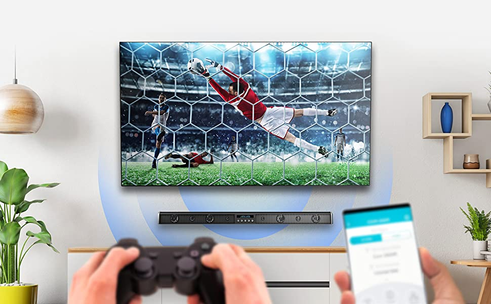 High-speed wired and wireless network being used with a phone and a games console and smart TV