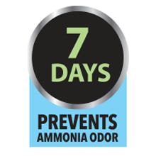Prevents ammonia odor for seven days