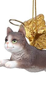 Design Toscano Honor the Feline: Grey Tabby Holiday Cat Angel Ornament