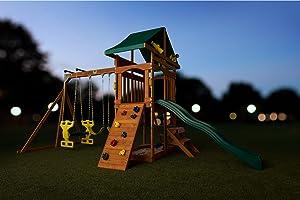 Amazon Com Creative Cedar Designs Sky View Wooden Playset