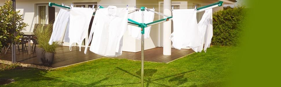 leifheit linomatic rotary washing line 600 deluxe 60 m kitchen home. Black Bedroom Furniture Sets. Home Design Ideas