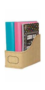 burlap book bin