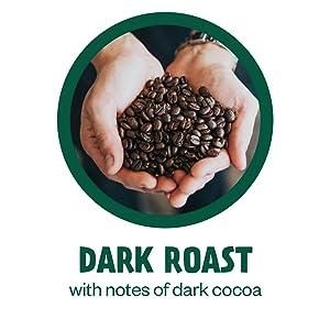 Dark Roast with notes of dark cocoa