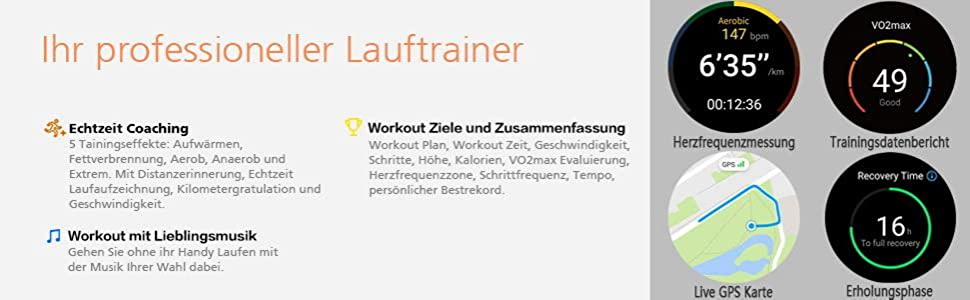 Lauftrainer Coaching Echtzeit Musik Workout GPS-Karte