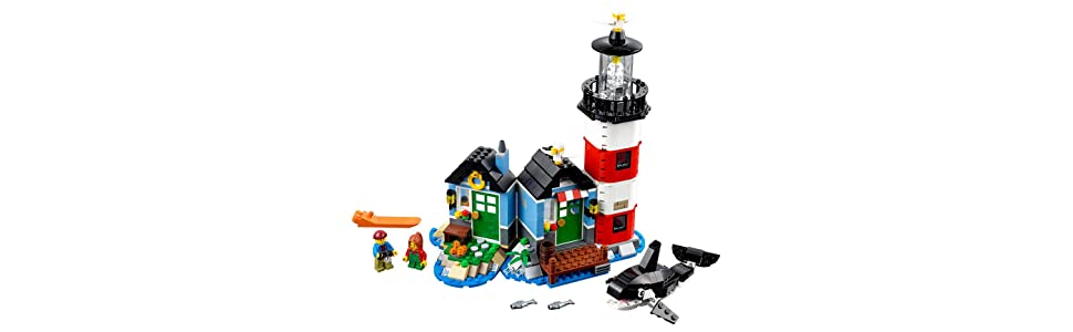 LEGO Lighthouse Point Banner: Accessories include a camera, two cups, sextant, and two fish