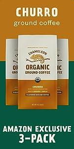 3-Pack Chameleon Organic Churro Flavored Ground Coffee