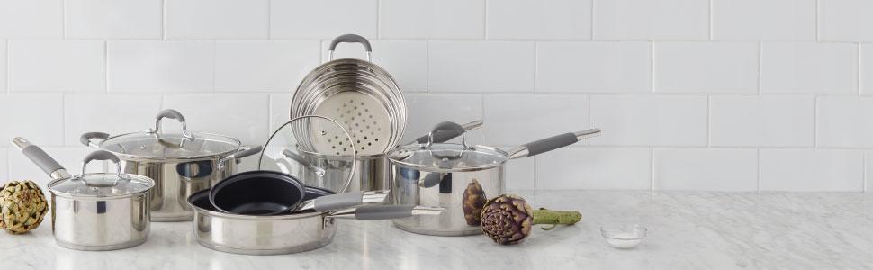 Davis & Waddell; kitchen; cooking; cookware; pots; pans; steaming; steamer; non-stick