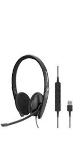 Sennheiser SC160 USB-C Wired Headset UC Skype for Business double-sided in-line call control