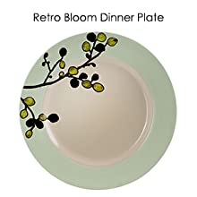 olive green trim floral round retro stoneware dinnerware dish set for 4 microwave dishwasher safe