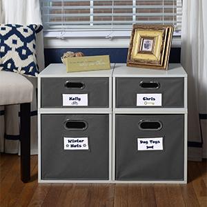 niche, regency, cube, tote, storage, bedroom, blue, navy blue, labels, room, white, folding bin,