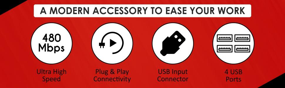 Quantum QHM6633 4 Port Hi-Speed USB Hub (White)