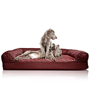 FurHaven Quilted Orthopedic Sofa Pet Bed For Dogs And Cats   Jumbo Wine Red