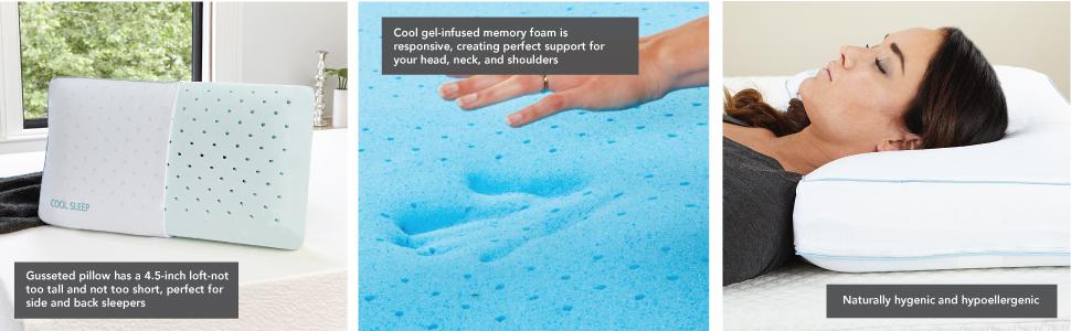 39428ea8b8ac Cool Sleep Ventilated Gel Memory Foam Gusseted Pillow, Multiple Sizes