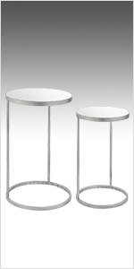 modern nesting tables, silver, mirrored