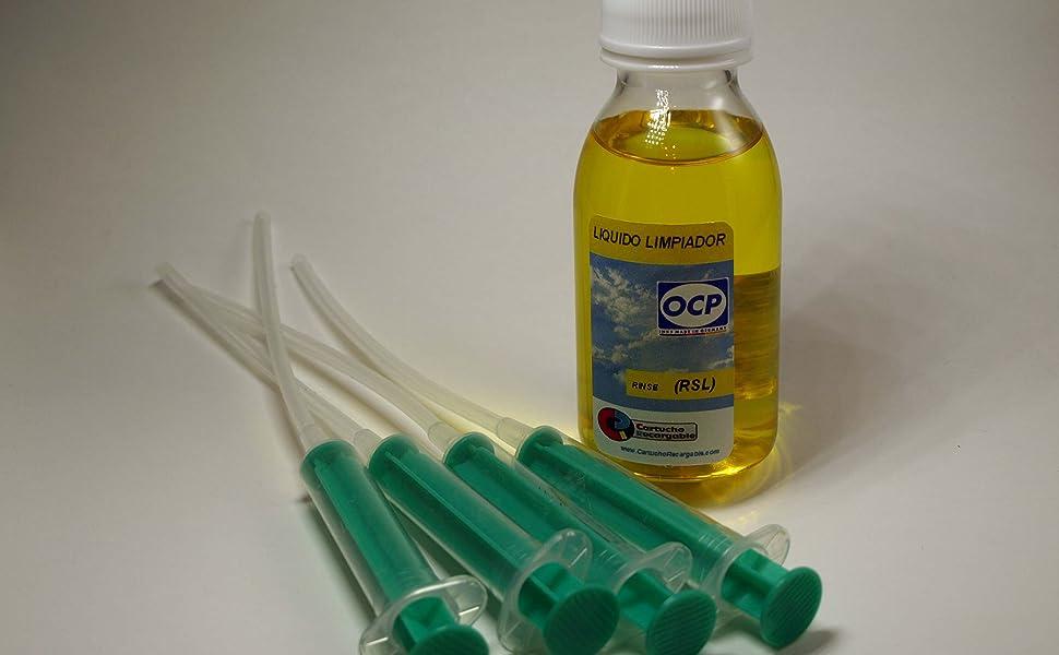 Cartuchorecargable RSL-Rinse-Amarillo, Liquido Limpiador Rinse-RSL Marca OCP para Limpieza de Cabezales e Inyectores en Impresoras y Cartuchos HP y ...