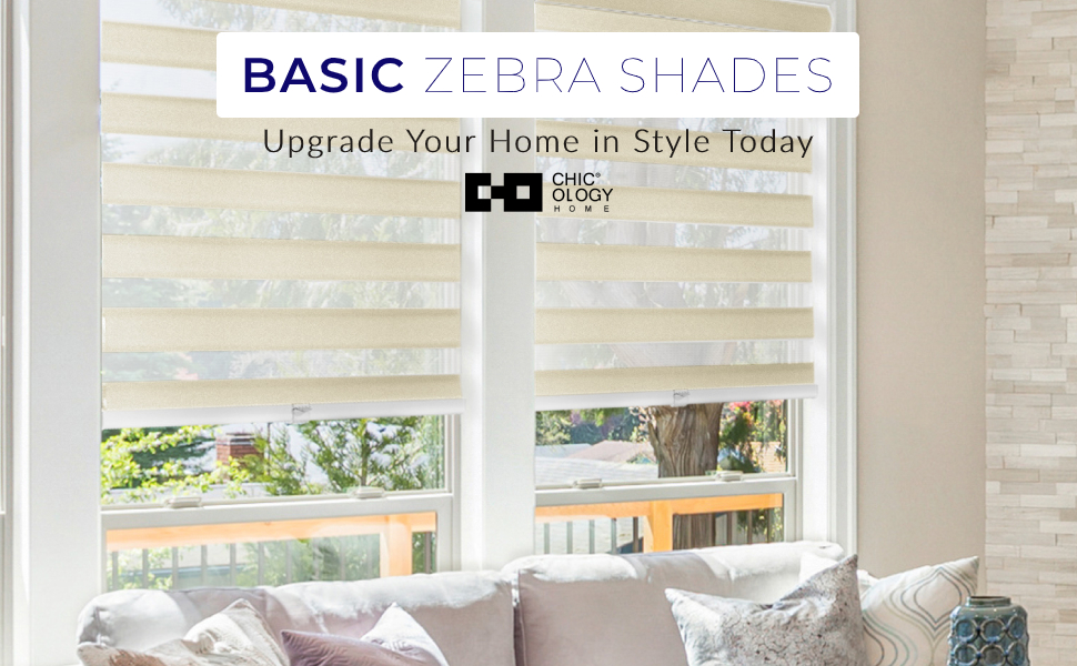 CHICOLOGY Zebra Shade Light Filtering Dual Layer Blind Best Living Room Bedroom Kitchen Basic