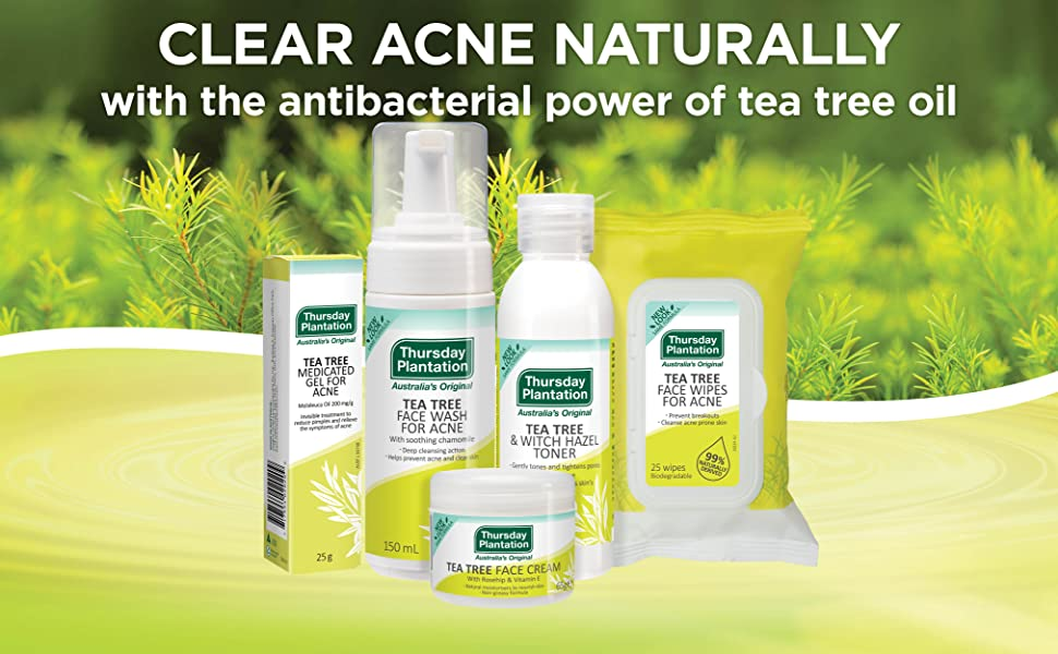 Acne Natural range Australian pimple tea tree cleanser toner cream wipes scar prevent treat clear