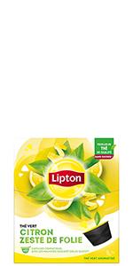 Lipton Thé Vert Citron Zeste de Folie 12 Capsules, thé capsules, agrumes, fraicheur, thé au citron