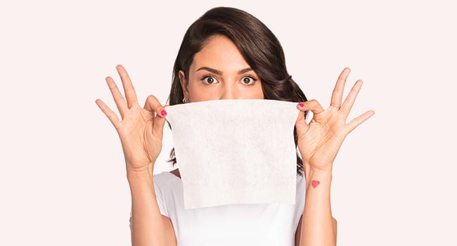 Individually wrapped Neutrogena towelette unfolded