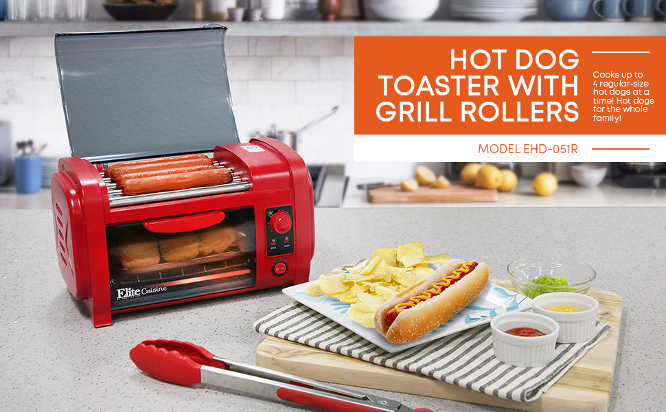 The Elite Cuisine Hot Dog in Toaster Oven 5 stainless steel rollers grill hot dogs evenly. Alu tray warms buns, retains Oil timer signal bell & auto-off.