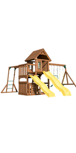 Timberview, WS 8356, swing set for kids, swing set with slides, wooden swing set