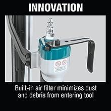 innovation built-in air filter minimizes dust debris entering tool hook bottom