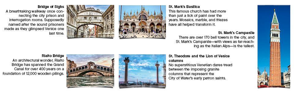 bridge of sighs, rialto bridge, st. mark's basillica, st. theodore and the lion of venice columns