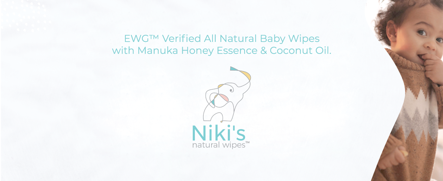 Nikis, baby wipes, natural wipes, organic, manuka honey, coconut oil