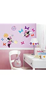 minnie mouse bow-tique peel and stick wall decals, peel and stick wall decals