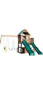 Willows Peak Deluxe, WS 8350, swing set for kids, swing set with slides, wooden swing set