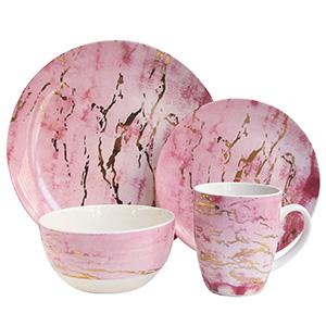 American Atelier 7090-16-RB Pink/Gold Marble Dinnerware Set